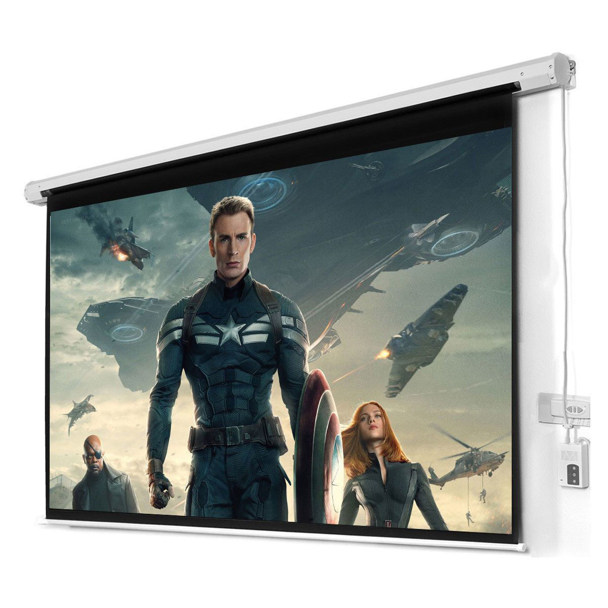 "Picture of 100"" 16:9 HD Foldable Electric Motorized Projector Screen + Remote"