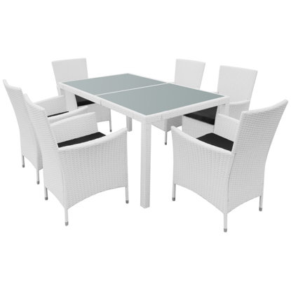 Picture of Outdoor Garden Dining Set - Cream White
