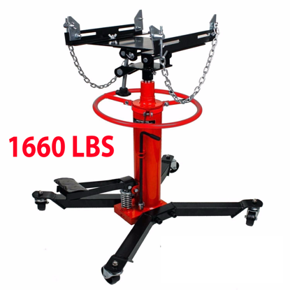 Picture of 2 Stage Hydraulic Transmission Jack with 360° Swivel Wheels Lift Hoist 1660 Lbs