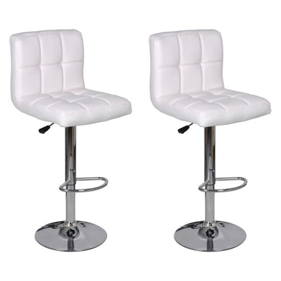 Picture of Kitchen Height Adjustable Bar Stools - White 2 pcs