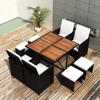 Picture of 21 Piece Outdoor Dining Set Black Poly Rattan Acacia Wood