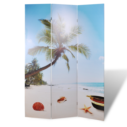 "Picture of 3-Panel Room Divider Folding Double Sided Screen Beach Print 47.2"" x 70.9"""