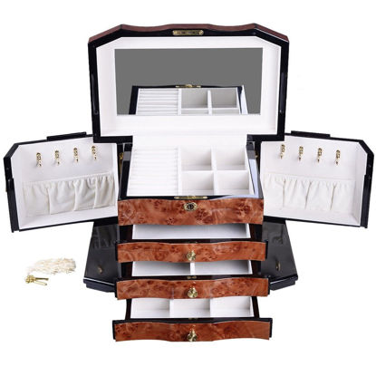 Picture of 4 Layers Jewelry Wooden Storage Box Organizer