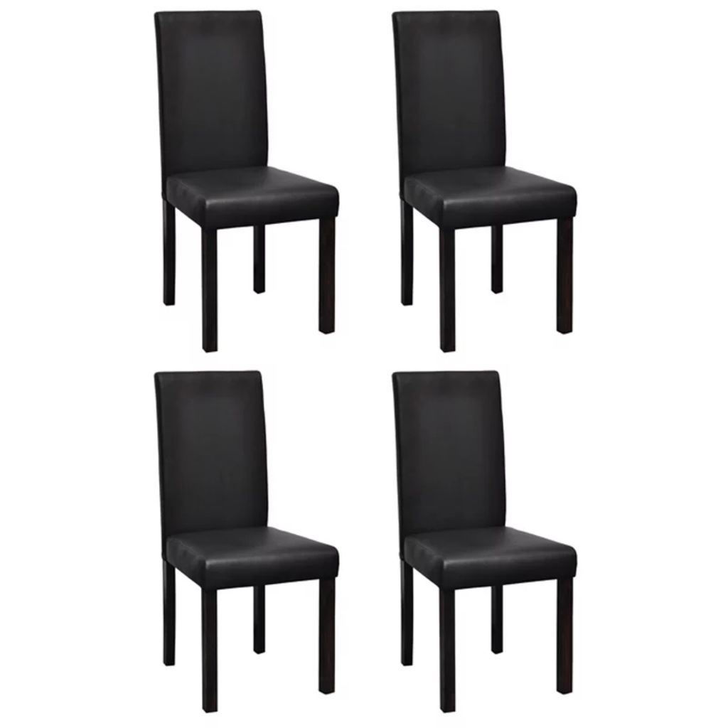 Picture of 4 x Dining chairs black leather