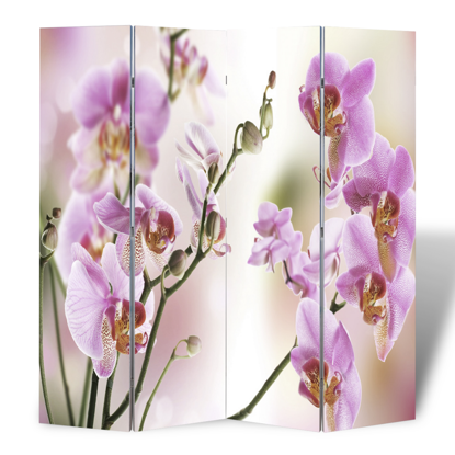 Picture of 4-Panel Room Divider Folding Double Sided Screen Flower Print 63 x 70.9 inch