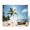 """Picture of 5-Panel Room Divider Folding Double Sided Screen Beach Print 78.7"""" x 70.9"""""""