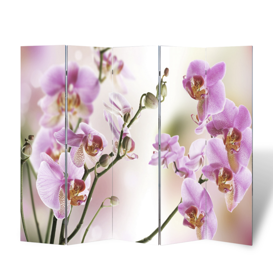 "Picture of 5-Panel Room Divider Folding Double Sided Screen Flower Print 78.7"" x 70.9"""