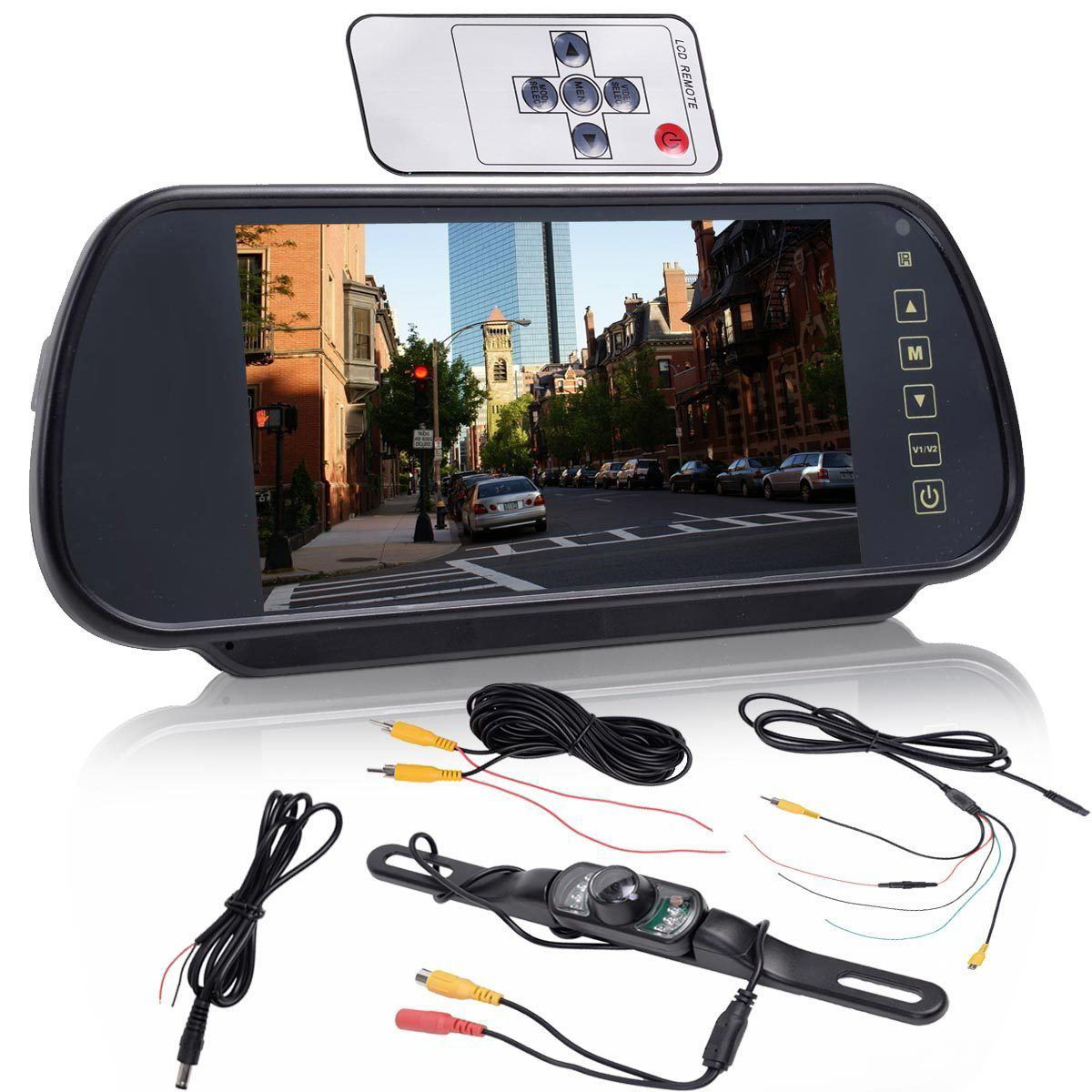"""Picture of 7"""" LCD Screen Car Rear View Backup Parking Mirror Monitor + Camera Night Vision"""