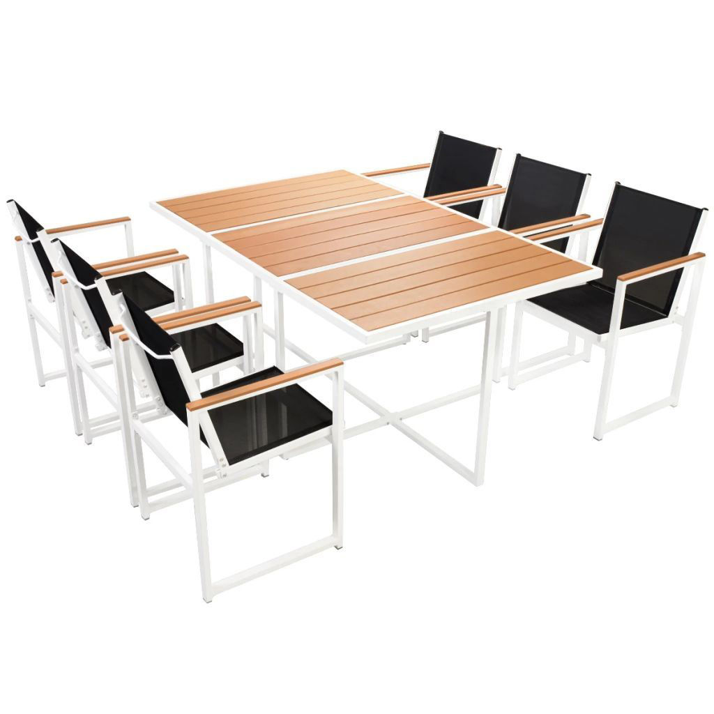 Picture of 7pc Outdoor Dining Set - Aluminum - WPC Brown