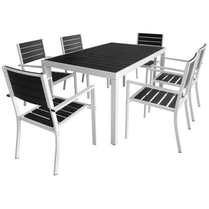 "Picture of 7pc Outdoor Dining Set 59"" - Aluminum WPC"