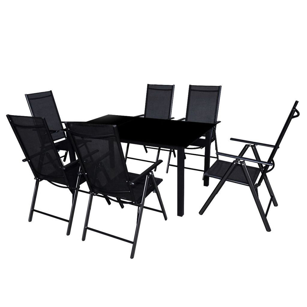 Picture of 7pc Outdoor Folding Aluminum Dining Set - Black