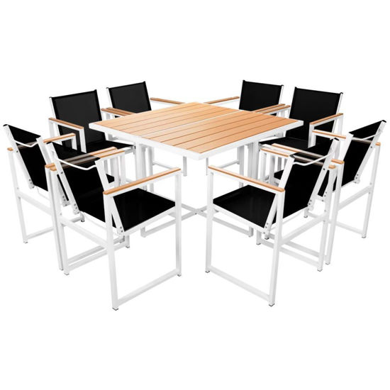 Picture of 9pc Outdoor Dining Set - Aluminum - WPC Brown