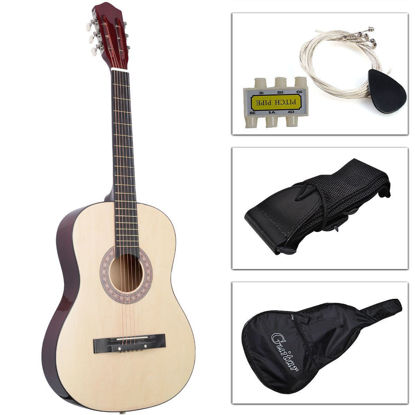 Picture of Acoustic Guitar with Guitar Case, Strap, Tuner and Pick for New Beginners Beige