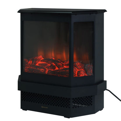 """Picture of Adjustable Electric Fireplace Heater 1500W Tempered Glass Free Standing 23"""""""