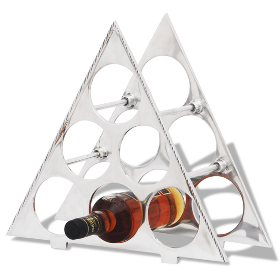 Picture of Aluminum Tabletop Wine Rack Stand Holder for 6 Bottles Silver