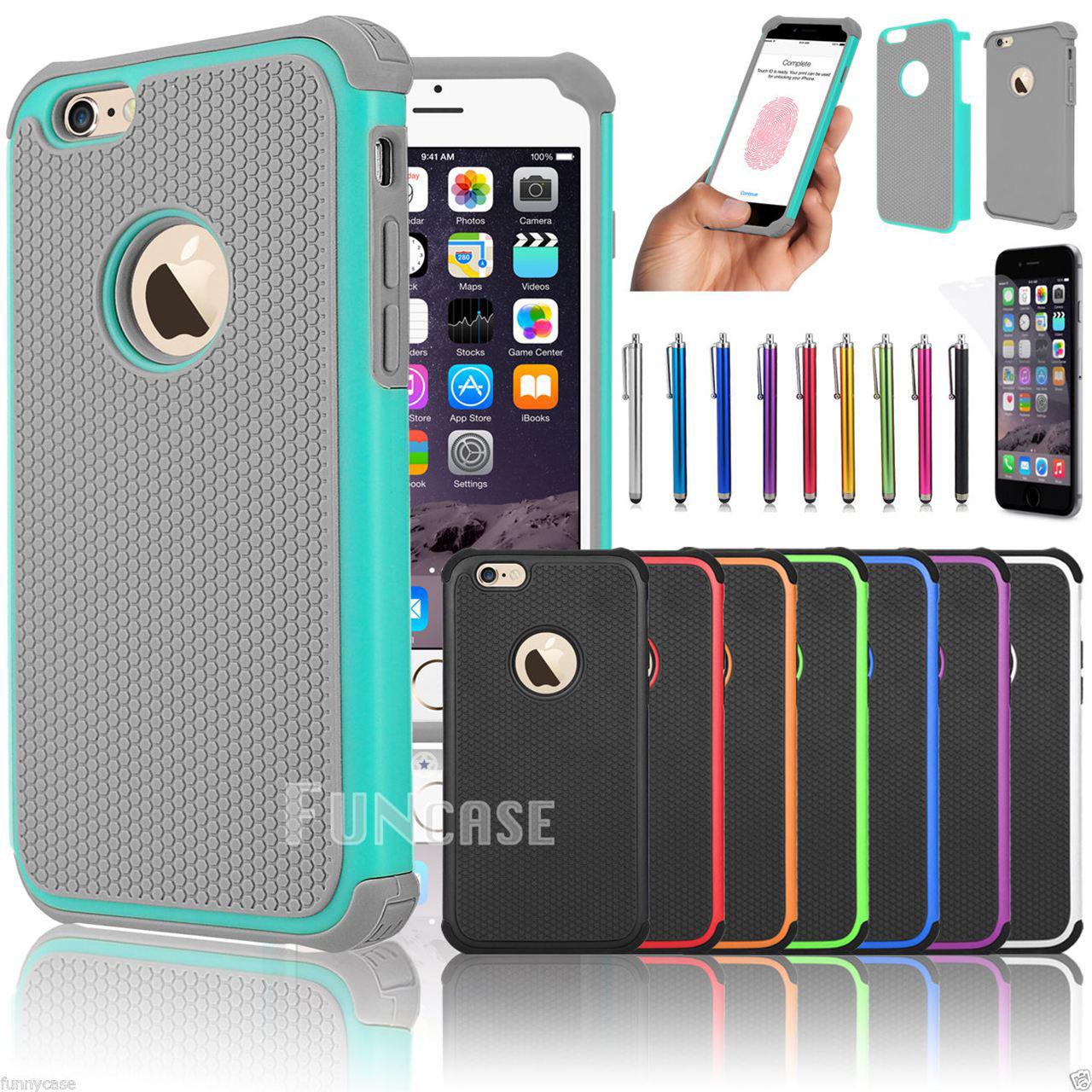 """Picture of Apple iPhone 6 4.7"""" 6 Plus 5.5"""" Black Rugged Rubber Matte Hard Case Cover"""