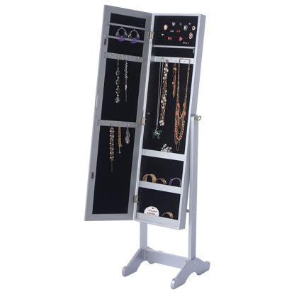 Picture of Armoire Mirrored Jewelry Cabinet Organizer Storage Box with Stand White