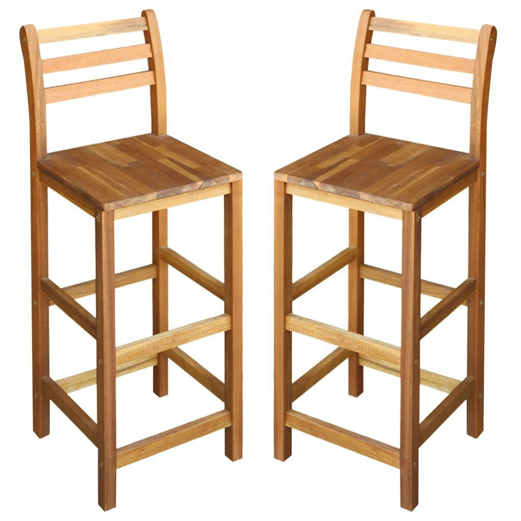 """Picture of Bar Chairs 2 pcs Solid Acacia Wood 16.5""""x14.2""""x43.3"""""""