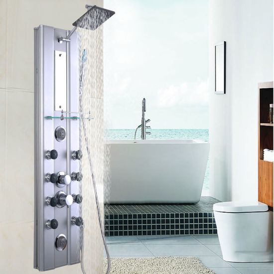 """Picture of Bathroom Aluminum Shower Panel Thermostatic Tower with 10 Massage Jets 46"""""""