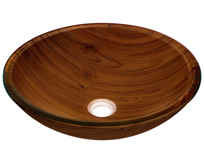 Picture of Bathroom Glass Sink Classic Bowl-Shaped Vessel - Wood Grain