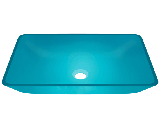 Picture of Bathroom Glass Sink Rectangular Vessel - Colored Glass