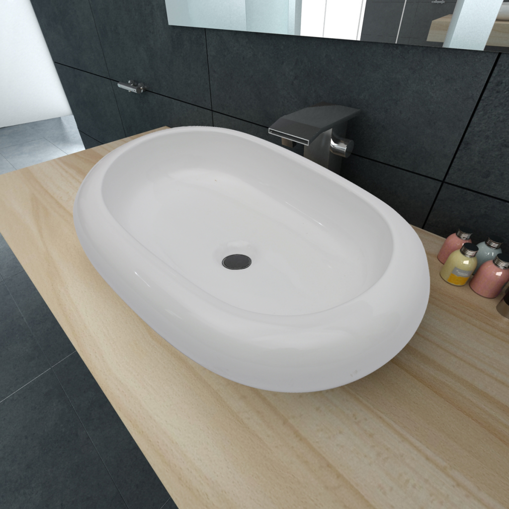 "Picture of Bathroom Luxury Ceramic Basin Oval-shaped Sink 24.8"" x 16.5"" - White"