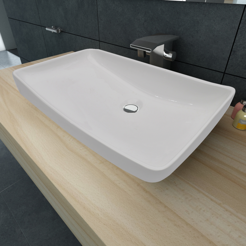 "Picture of Bathroom Luxury Ceramic Basin Rectangular Sink 28"" x 15"" - White"