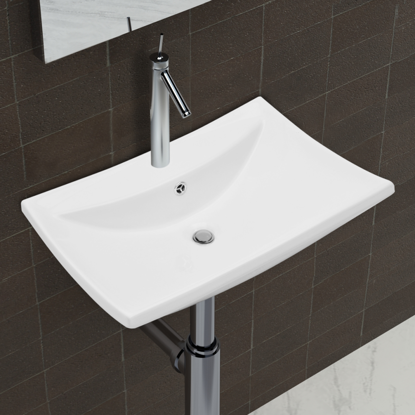 Picture of Bathroom Luxury Ceramic Basin Rectangular with Overflow and Faucet Hole - White
