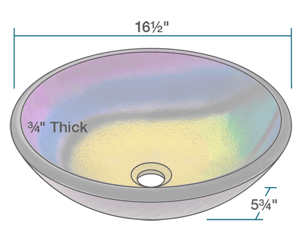 Picture of Bathroom Sink Glass Vessel - Frosted Rainbow