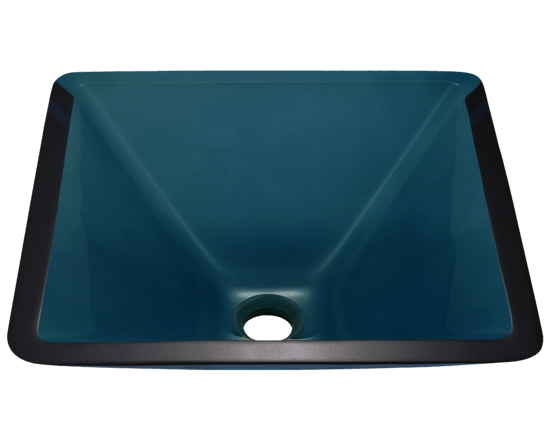 Picture of Bathroom Sink Square-Shaped Vessel - Colored Glass