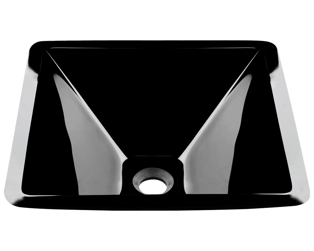 Picture of Bathroom Sink Square-Shaped Vessel - Dark Colored Glass