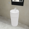 Picture of Bathroom Stand Sink Basin Faucet/Overflow Hole Ceramic - White