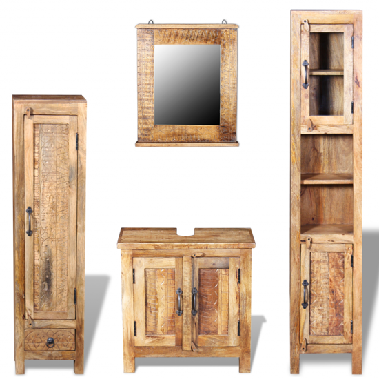 Picture of Bathroom Vanity Cabinet with Mirror and 2 Side Cabinets - Solid Mango Wood