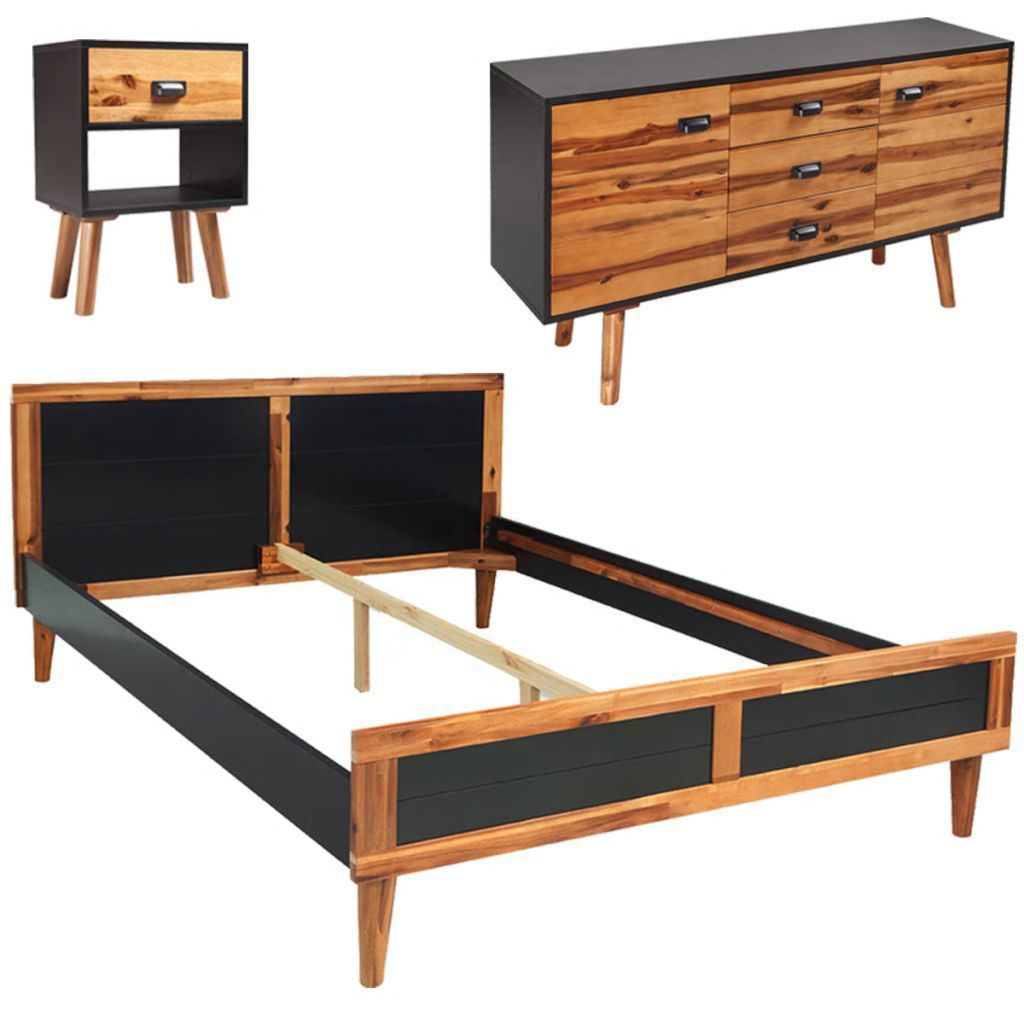 """Picture of Bedroom Furniture Set 55"""" - Solid Acacia Wood 4pc"""