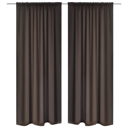 "Picture of Blackout Curtains 53"" x 96"" Slot-Headed - Brown 2 pcs"