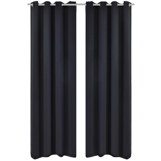 """Picture of Blackout Curtains with Metal Rings 53"""" x 96"""" - 2 pcs Black"""