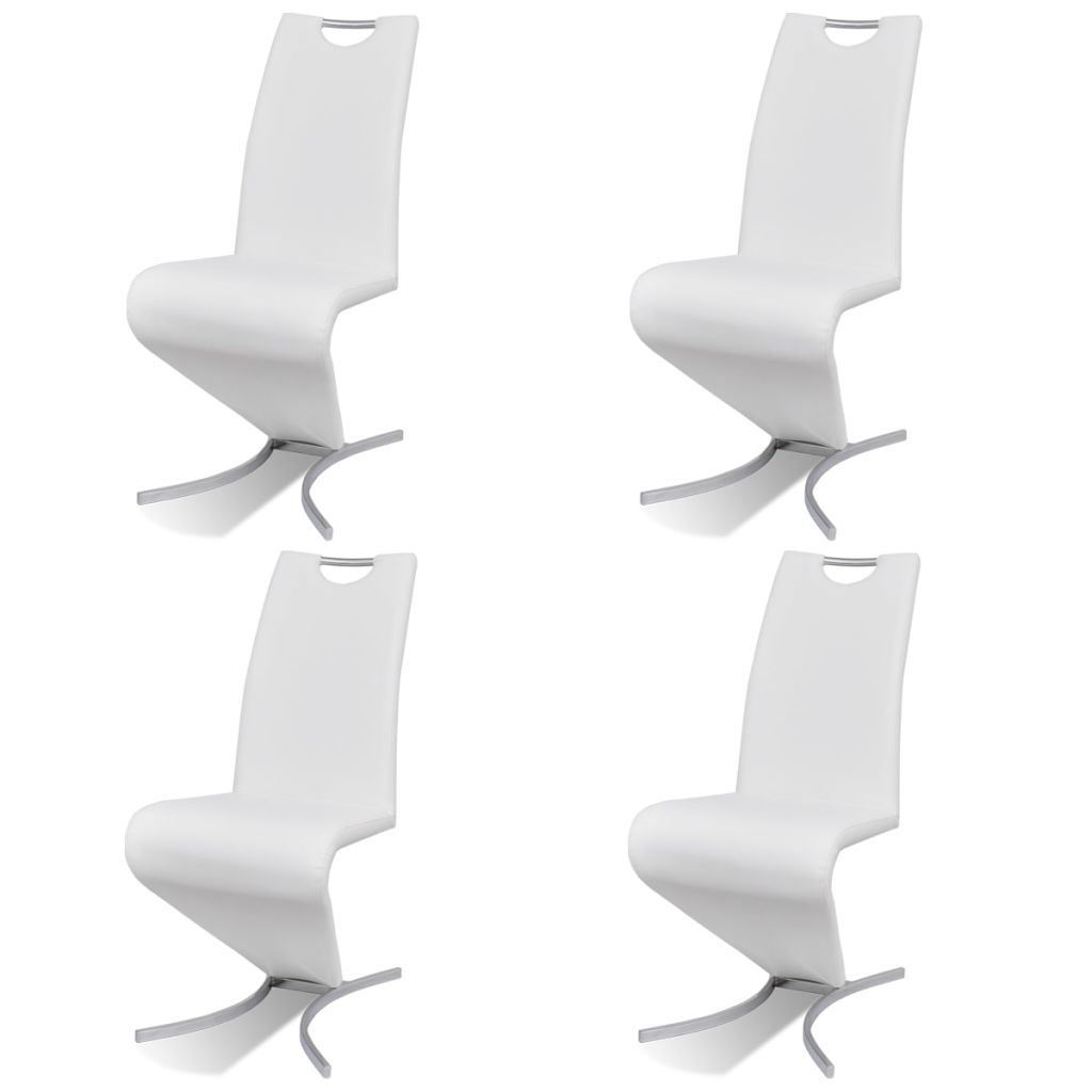 Picture of Cantilever Dining Chairs 4 pcs Artificial Leather White