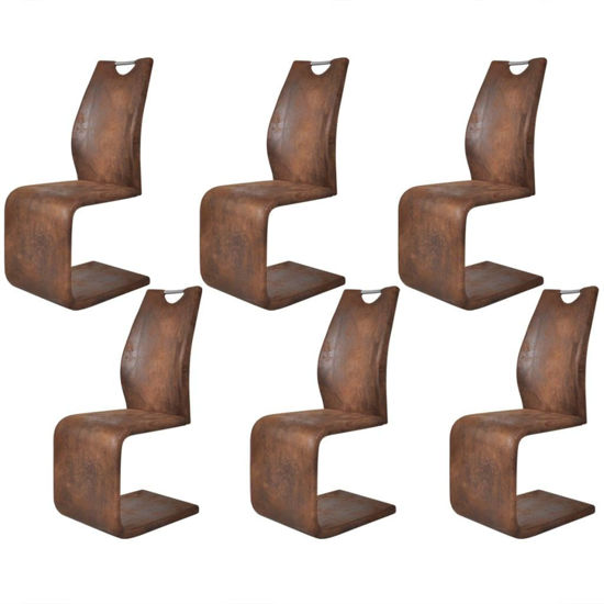 Picture of Cantilever Dining Chairs 6 pcs Artificial Leather Brown