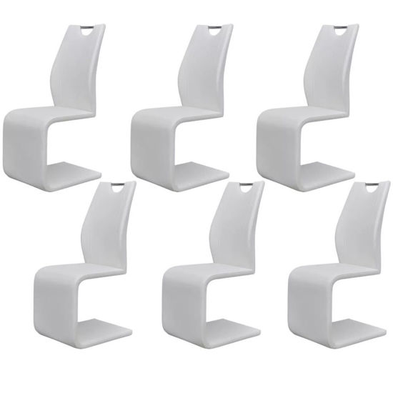 Picture of Cantilever Dining Chairs 6 pcs Artificial Leather White