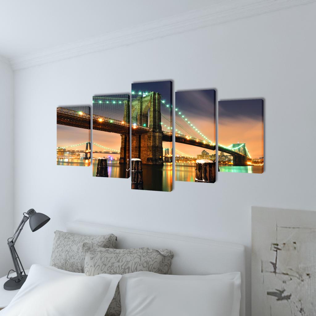 "Picture of Canvas Wall Print Set Brooklyn Bridge 39"" x 20"""