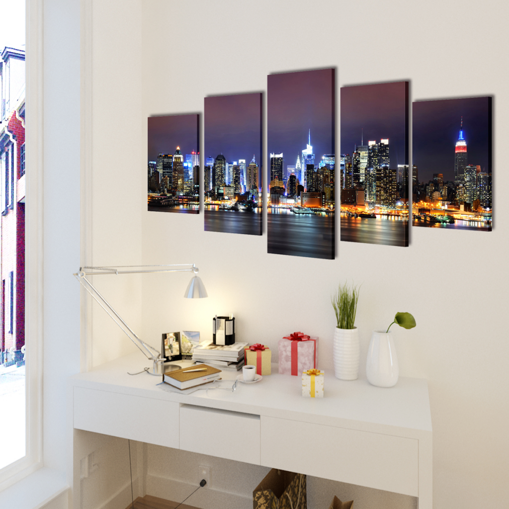 "Picture of Canvas Wall Print Set Colorful New York Skyline 39"" x 20"""