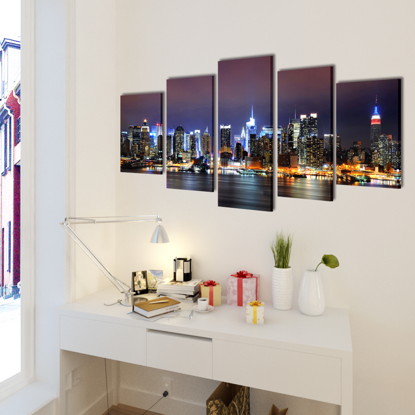 """Picture of Canvas Wall Print Set Colorful New York Skyline 39"""" x 20"""""""