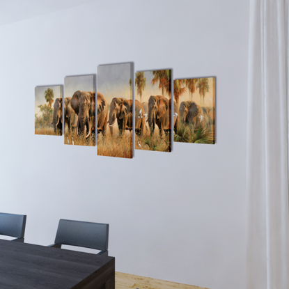 """Picture of Canvas Wall Print Set Elephants 39"""" x 20"""""""
