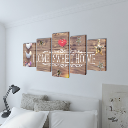 """Picture of Canvas Wall Print Set Home Sweet Home Design 79"""" x 39"""""""