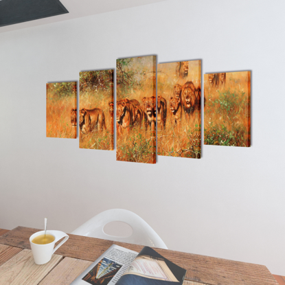 """Picture of Canvas Wall Print Set Lions 39"""" x 20"""""""