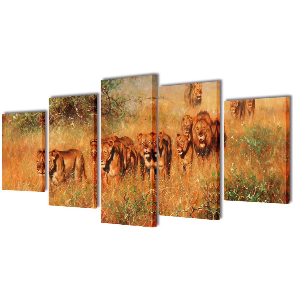 "Picture of Canvas Wall Print Set Lions 39"" x 20"""