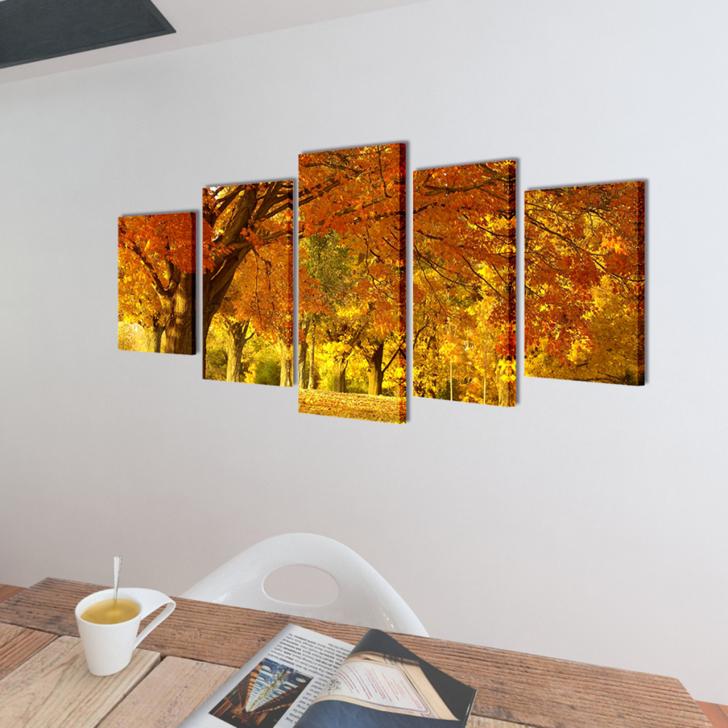 """Picture of Canvas Wall Print Set Maple 39"""" x 20"""""""