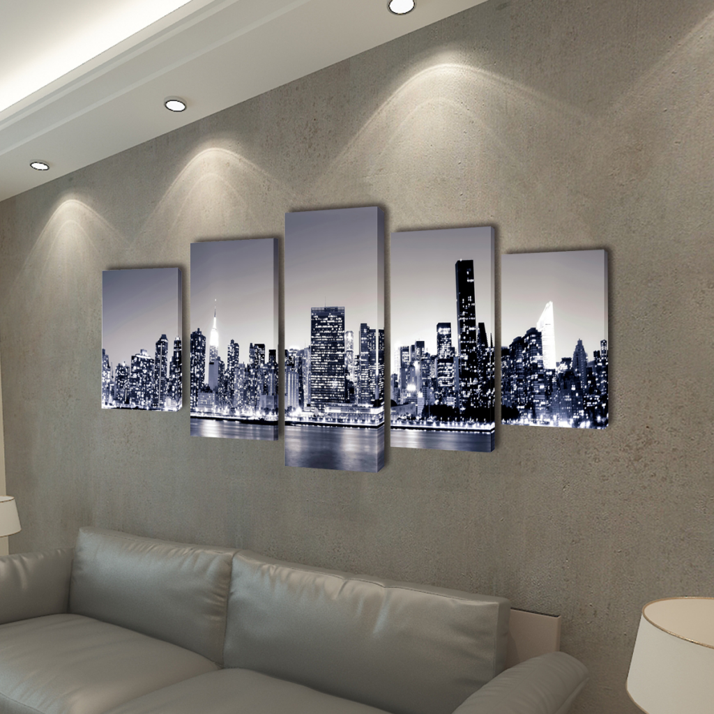 """Picture of Canvas Wall Print Set Monochrome New York Skyline 39"""" x 20"""""""