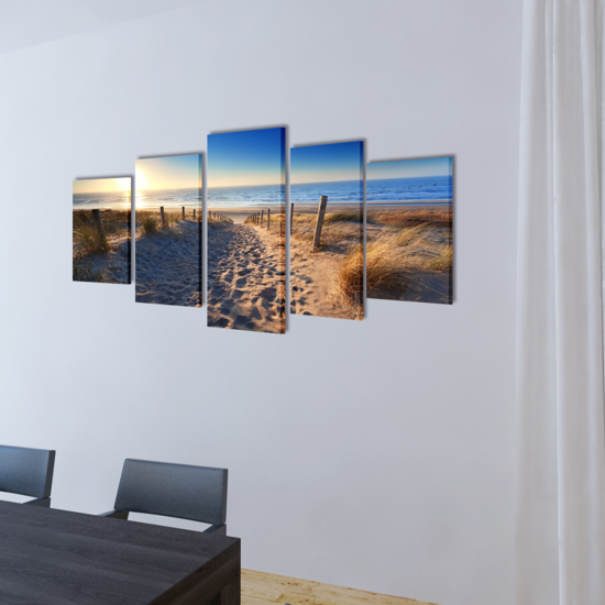 """Picture of Canvas Wall Print Set Sand Beach 39"""" x 20"""""""