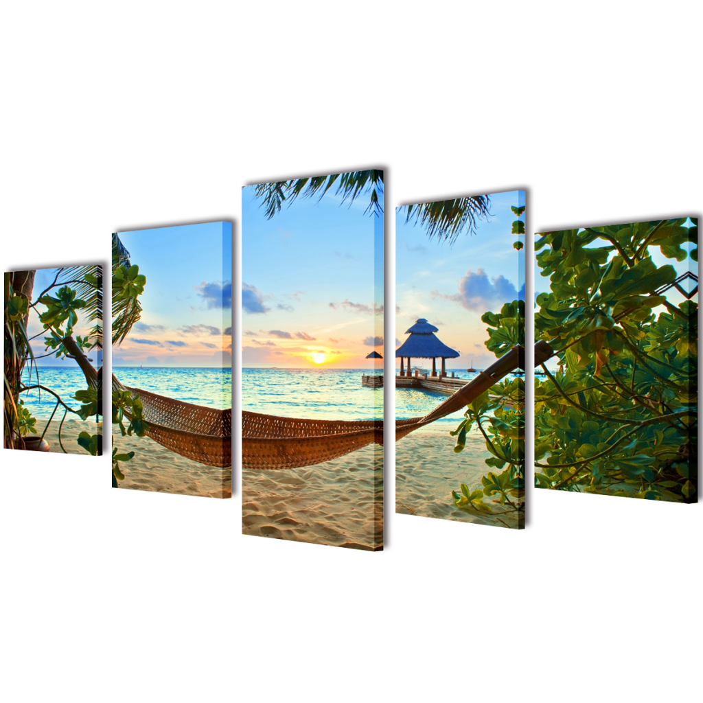 "Picture of Canvas Wall Print Set Sand Beach with Hammock 39"" x 20"""